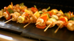 Kabobs on BBQ Grill Mat