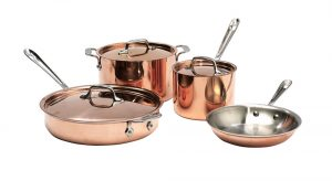 a set of copper nonstick pans